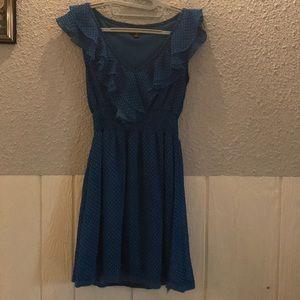 UK2LA Polka Dot Ruffle blue Polka dot Dress large